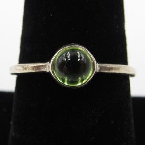 Vintage Size 8 Sterling Uncut Peridot Stone Ring